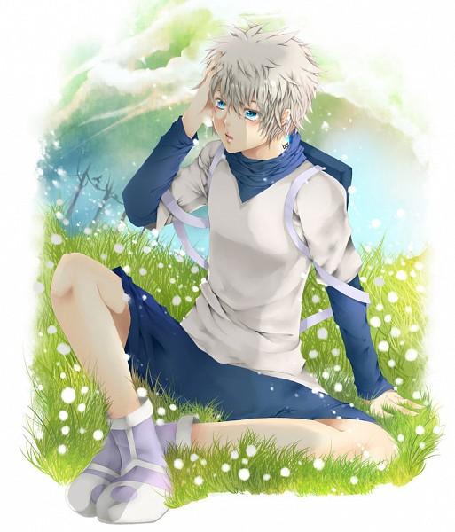 Tags: Anime, Blackcatshooter, Hunter x Hunter, Killua Zoldyck, Sitting On Grass, deviantART, Fanart From DeviantART, Fanart