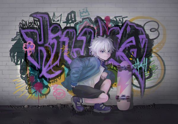 Tags: Anime, Pixiv Id 28200760, Hunter x Hunter, Killua Zoldyck, Skateboard, Graffiti, Fanart, Pixiv, Fanart From Pixiv
