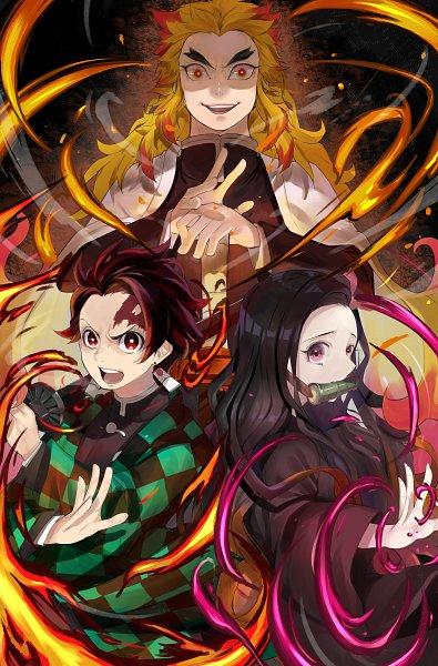 Tags: Anime, Pixiv Id 39551247, Kimetsu no Yaiba, Kimetsu no Yaiba: Mugen Ressha-hen, Rengoku Kyoujurou, Kamado Tanjirou, Kamado Nezuko, Pixiv