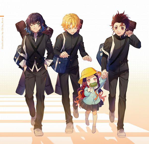 Tags: Anime, Ekita_Kuro, Kimetsu no Yaiba, Hashibira Inosuke, Agatsuma Zenitsu, Kamado Tanjirou, Kamado Nezuko, Fanart, Fanart From Pixiv, Pixiv