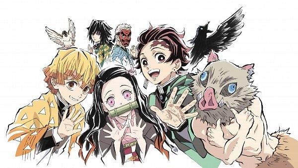 Tags: Anime, Matsushima Akira, Kimetsu no Yaiba, Urokodaki Sakonji, Kamado Nezuko, Tomioka Giyuu, Hashibira Inosuke, Agatsuma Zenitsu, Kamado Tanjirou, Tengu Mask, Thumbs Up, Bird on Hand, Black Bird, Demon Slayer