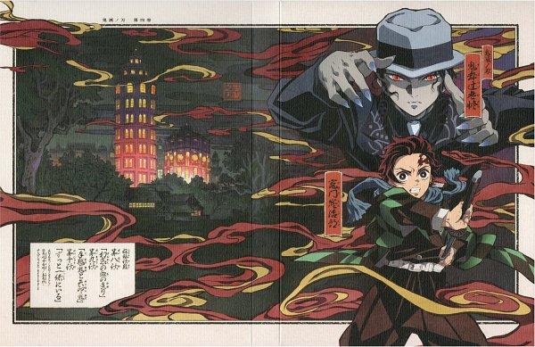 Tags: Anime, Matsushima Akira, ufotable, Kimetsu no Yaiba, Kibutsuji Muzan, Kamado Tanjirou, Crease, Fedora, Scan, DVD (Source), Official Art, Demon Slayer: Kimetsu No Yaiba
