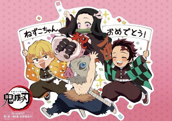 Tags: Anime, ufotable, Kimetsu no Yaiba, Agatsuma Zenitsu, Kamado Tanjirou, Kamado Nezuko, Hashibira Inosuke, Twitter, Official Art, Demon Slayer: Kimetsu No Yaiba