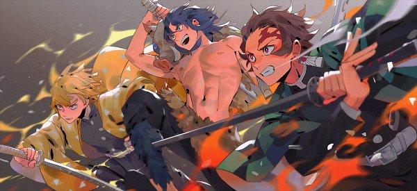 Tags: Anime, Iya-chen, Kimetsu no Yaiba, Kamado Tanjirou, Hashibira Inosuke, Agatsuma Zenitsu, Demon Slayer: Kimetsu No Yaiba