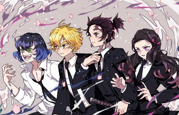 Tags: Anime, Pixiv Id 4477251, Kimetsu no Yaiba, Hashibira Inosuke, Agatsuma Zenitsu, Kamado Tanjirou, Kamado Nezuko, Demon Slayer: Kimetsu No Yaiba