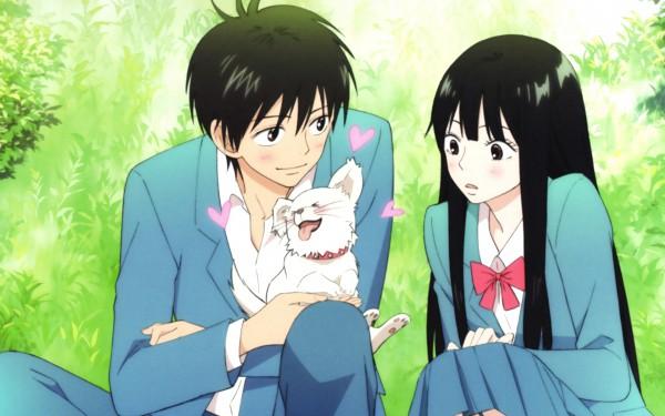 Tags: Anime, Kimi ni Todoke, Kazehaya Shouta, Kuronuma Sawako, Sitting On Grass, Screenshot, Wallpaper, From Me To You