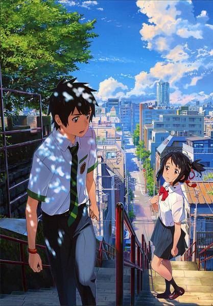 Tags: Anime, Tanaka Masayoshi, Kimi no Na wa., Tachibana Taki, Miyamizu Mitsuha, Official Art, Mobile Wallpaper, Scan, Your Name.