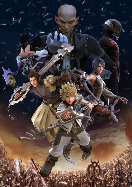 Tags: Anime, Nomura Tetsuya, SQUARE ENIX, Kingdom Hearts, Kingdom Hearts: Birth by Sleep, Aqua (Kingdom Hearts), Vanitas, Ventus, Terra, Mickey Mouse, Keyblade, 3D, Mobile Wallpaper