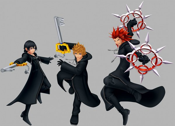 Tags: Anime, SQUARE ENIX, Kingdom Hearts 358/2 Days, Kingdom Hearts, Xion, Roxas, Axel (Kingdom Hearts), Keyblade, Chakram, Collage, PNG Conversion, 3D, Official Art