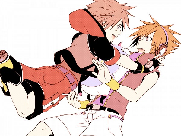 Tags: Anime, Rycchin, Subarashiki Kono Sekai, Kingdom Hearts 3D: Dream Drop Distance, Kingdom Hearts, Sora (Kingdom Hearts), Neku Sakuraba, Surprise Hug, Pixiv, Fanart, Fanart From Pixiv