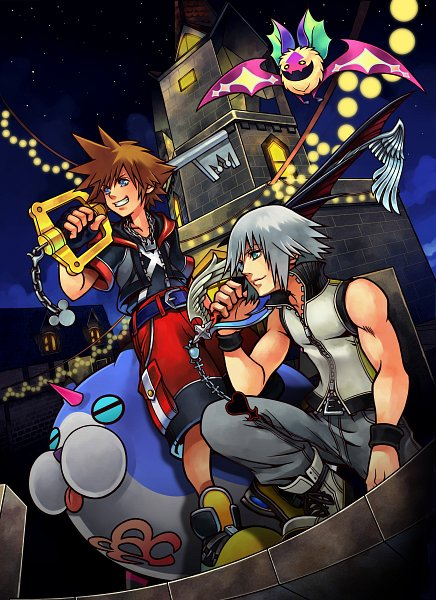 Tags: Anime, Nomura Tetsuya, SQUARE ENIX, Kingdom Hearts 3D: Dream Drop Distance, Kingdom Hearts, Wondernyan, Riku (Kingdom Hearts), Dream Eater, Sora (Kingdom Hearts), Clock Tower, Keyblade, Nintendo 3DS, Bat Bat (Kingdom Hearts)