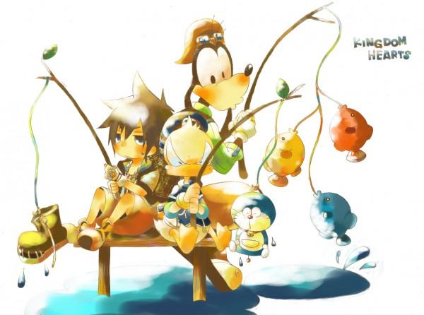 Tags: Anime, SQUARE ENIX, Doraemon, Kingdom Hearts, Sora (Kingdom Hearts), Goofy, Donald Duck, Fishing, Disney, Artist Request