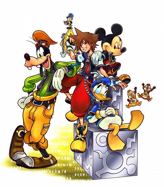 Tags: Anime, Nomura Tetsuya, Disney, SQUARE ENIX, Chip & Dale, Mickey Mouse, Goofy, Jiminy Cricket, Hand on Stomach, Journal, Leaning Against Each Other, Cube, Keyblade