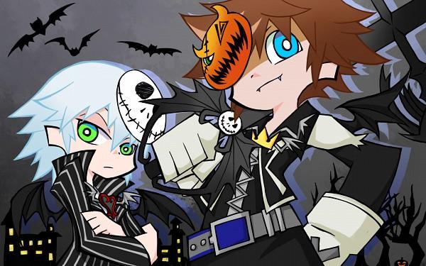 Tags: Anime, Pixiv Id 1412306, Kingdom Hearts, Sora (Kingdom Hearts), Riku (Kingdom Hearts), Panty and Stocking with Garterbelt (Parody), PSG Character Design, Pixiv, Fanart, Wallpaper