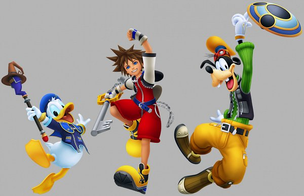 Tags: Anime, SQUARE ENIX, Kingdom Hearts, Sora (Kingdom Hearts), Goofy, Donald Duck, Keyblade, 3D, PNG Conversion, Collage, Official Art, Edited