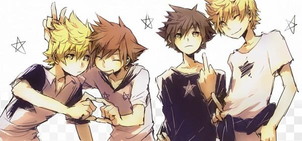 Tags: Anime, Illbewaiting, Kingdom Hearts: Birth by Sleep, Kingdom Hearts 358/2 Days, Kingdom Hearts, Kingdom Hearts II, Roxas, Sora (Kingdom Hearts), Vanitas, Ventus, Heart Gesture Duo, PNG Conversion, deviantART