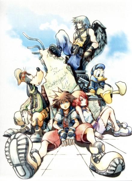Tags: Anime, Nomura Tetsuya, SQUARE ENIX, Kingdom Hearts, Kingdom Hearts II, Sora (Kingdom Hearts), Goofy, Donald Duck, Kairi (Kingdom Hearts), Riku (Kingdom Hearts), Head Up, Lyrics, Yellow Footwear