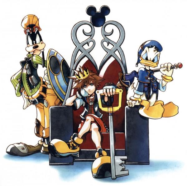 Tags: Anime, Nomura Tetsuya, SQUARE ENIX, Kingdom Hearts, Donald Duck, Sora (Kingdom Hearts), Goofy, Keyblade, Throne, Yellow Footwear, Official Art, Disney