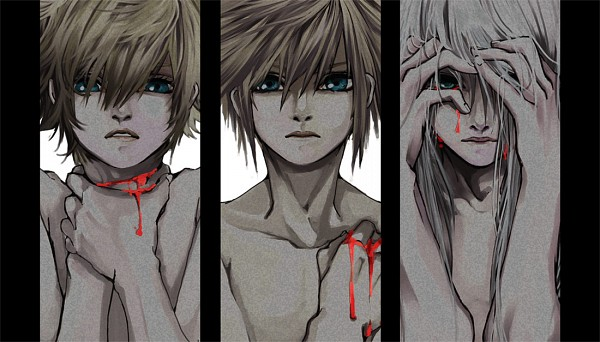 Tags: Anime, Ihirotang, Kingdom Hearts 358/2 Days, Kingdom Hearts II, Kingdom Hearts, Roxas, Riku (Kingdom Hearts), Sora (Kingdom Hearts), Choking, Hand on Neck, Blood Tears, Fanart, Facebook Cover