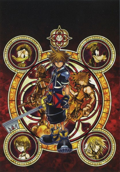 Tags: Anime, Nomura Tetsuya, SQUARE ENIX, Kingdom Hearts, Kingdom Hearts II, Kairi (Kingdom Hearts), Riku (Kingdom Hearts), Sora (Kingdom Hearts), Goofy, Donald Duck, Keyblade, Mobile Wallpaper, Official Art