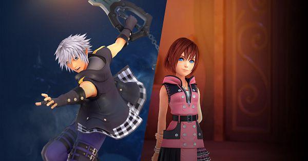Tags: Anime, SQUARE ENIX, Kingdom Hearts III, Kingdom Hearts, Kairi (Kingdom Hearts), Riku (Kingdom Hearts), Keyblade, Motion Blur, Official Art, 3D