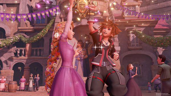 Tags: Anime, SQUARE ENIX, Kingdom Hearts III, Sora (Kingdom Hearts), Rapunzel (Character), Painting (Object), Banner, High Five, Barrel, 3D, Screenshot