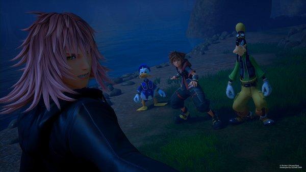 Tags: Anime, SQUARE ENIX, Kingdom Hearts III, Goofy, Donald Duck, Marluxia, Sora (Kingdom Hearts), 3D, Screenshot, Organization XIII