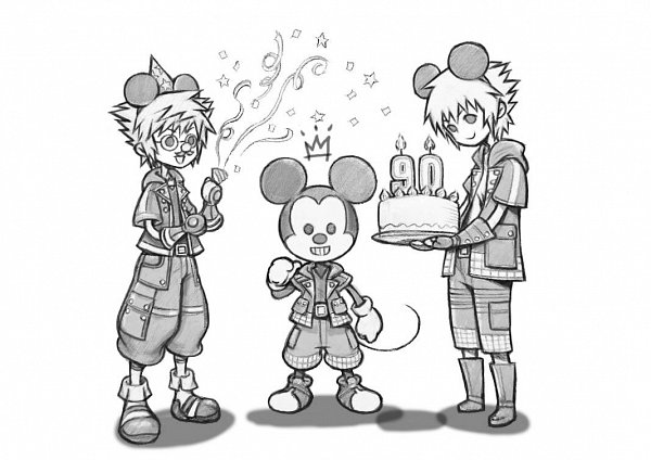 Tags: Anime, Nomura Tetsuya, Kingdom Hearts III, Sora (Kingdom Hearts), Mickey Mouse, Riku (Kingdom Hearts), Pointing At Self, Party Hat, Party, Streamers, Groucho Glasses, Official Art, Twitter