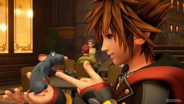 Tags: Anime, SQUARE ENIX, Kingdom Hearts III, Remy (Ratatouille), Sora (Kingdom Hearts), Restaurant, Touching Fingers, Screenshot, 3D