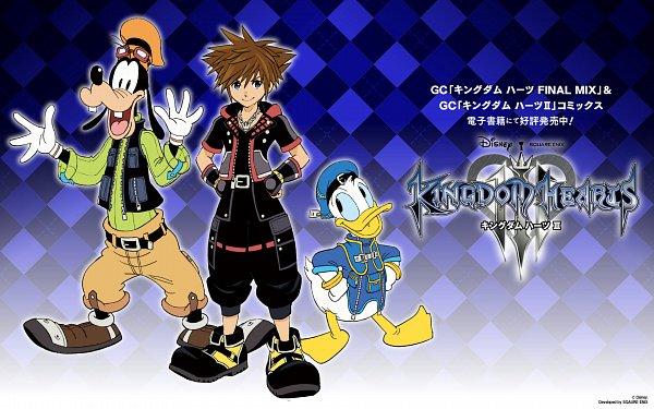 Tags: Anime, Amano Shiro, Kingdom Hearts III, Goofy, Donald Duck, Sora (Kingdom Hearts), Official Art, Wallpaper, Official Wallpaper