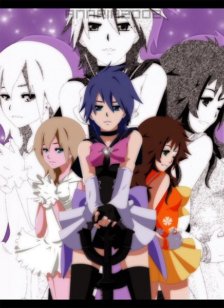 Tags: Anime, Annria2002, SQUARE ENIX, Kingdom Hearts: Birth by Sleep, Kingdom Hearts II, Olette, Naminé, Aqua (Kingdom Hearts), Mobile Wallpaper, deviantART, Disney