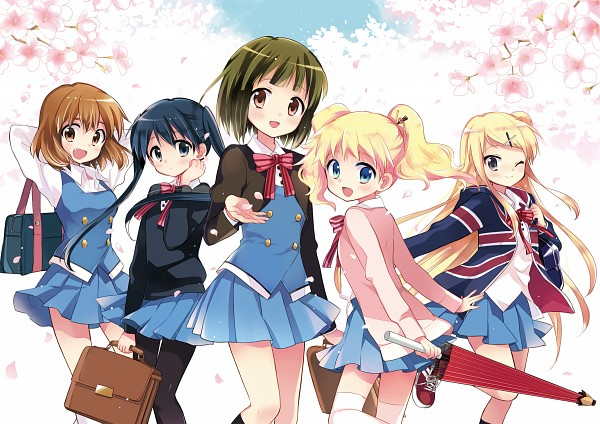 Tags: Anime, Hara Yui, Kiniro Mosaic, Kujou Karen (Kiniro Mosaic), Inokuma Youko, Oomiya Shinobu, Komichi Aya, Official Art, Yellow Mosaic