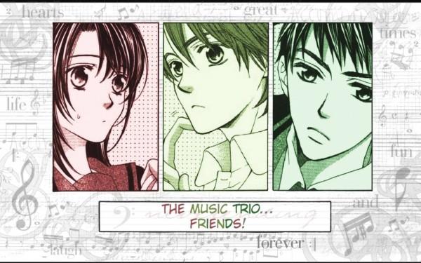 Tags: Anime, Kiniro no Corda, Hino Kahoko, Tsuchiura Ryotaro, Hihara Kazuki, Wallpaper, La Corda D'oro