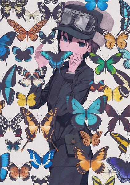 Tags: Anime, Kuroboshi Kouhaku, Kino no Tabi, Kino (Kino no Tabi), Butterfly on Hand, Animal on Hand, Tomboy, Pouch, Fur Hat, Official Art