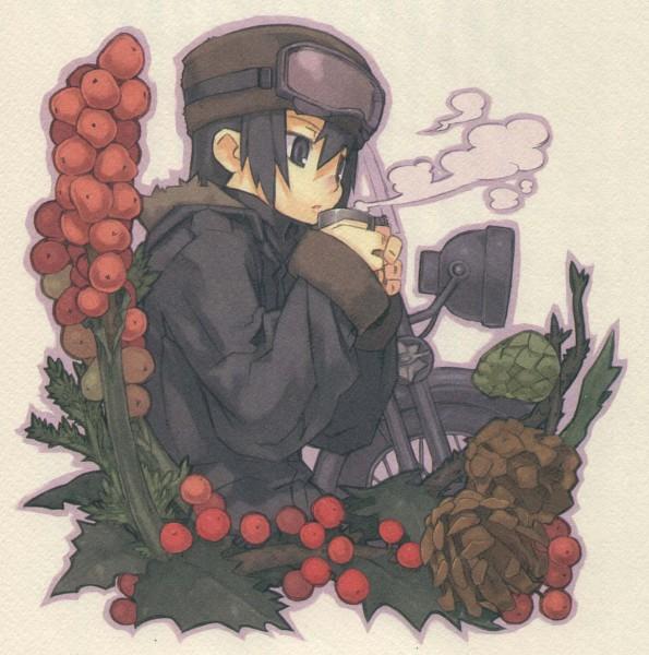 Tags: Anime, Kuroboshi Kouhaku, Kino no Tabi, Hermes (Kino no Tabi), Kino (Kino no Tabi), Holly (Plant), Pine Cone