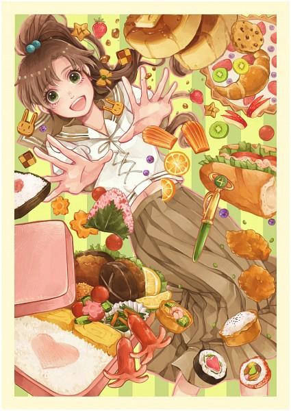 Tags: Anime, Pixiv Id 5417160, Bishoujo Senshi Sailor Moon, Kino Makoto, Transformation Pen, Sandwich, Sushi, Brown Skirt, Mobile Wallpaper, Fanart From Pixiv, Fanart, Pixiv