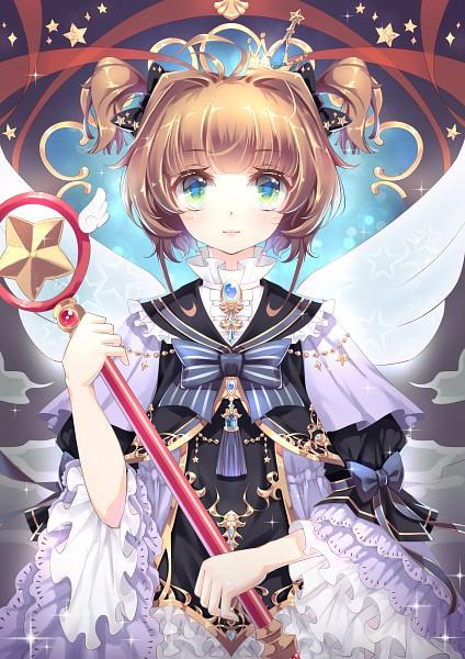 Tags: Anime, ElliV, Cardcaptor Sakura, Kinomoto Sakura, Star Wand, Sealing Wand (Star Form), Gray Bow, Mobile Wallpaper, Pixiv, Fanart From Pixiv, Fanart