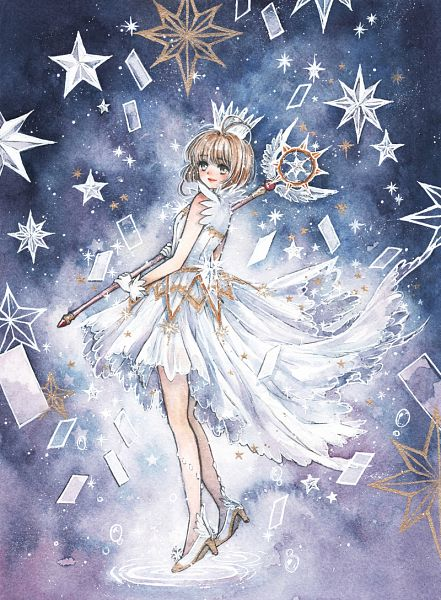 Tags: Anime, Cherriuki, Cardcaptor Sakura, Cardcaptor Sakura: Clear Card-hen, Kinomoto Sakura, Sealing Wand (Guardian Form), Fanart, Watercolor, Traditional Media, Pixiv, Fanart From Pixiv