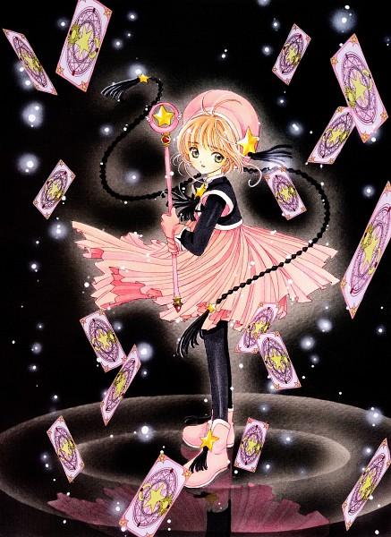 Tags: Anime, CLAMP, Cardcaptor Sakura, Cardcaptor Sakura Illustrations Collection 2, Kinomoto Sakura, Clow Cards, Sealing Wand (Star Form), Mobile Wallpaper, Official Art
