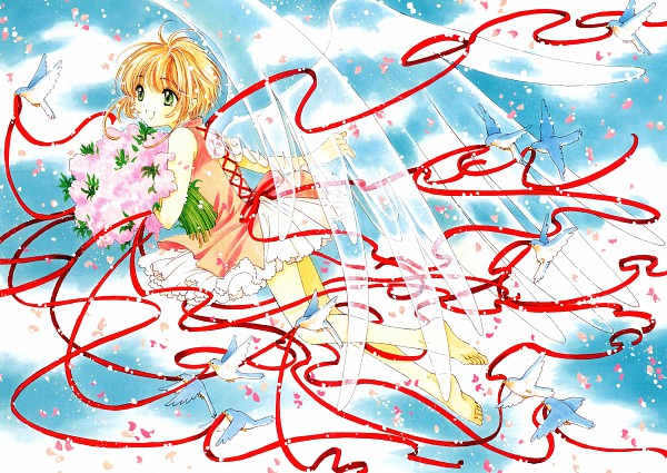 Tags: Anime, CLAMP, Cardcaptor Sakura, Cardcaptor Sakura Illustrations Collection 3, Kinomoto Sakura, Dove, Official Art, Scan