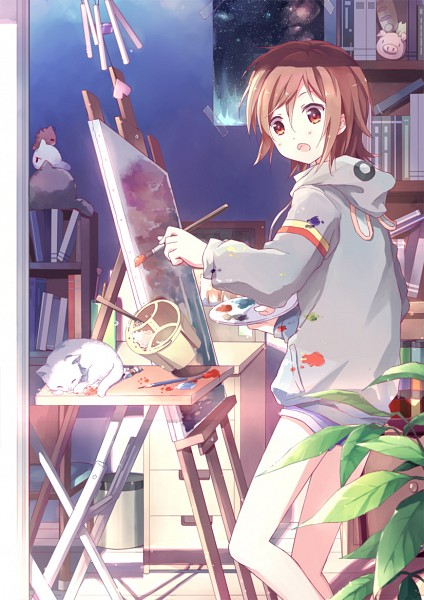 Tags: Anime, Kinoshita Neko, Poster (Object), Painting (Action), Palette (Object), Library, Mobile Wallpaper, Pixiv, Original