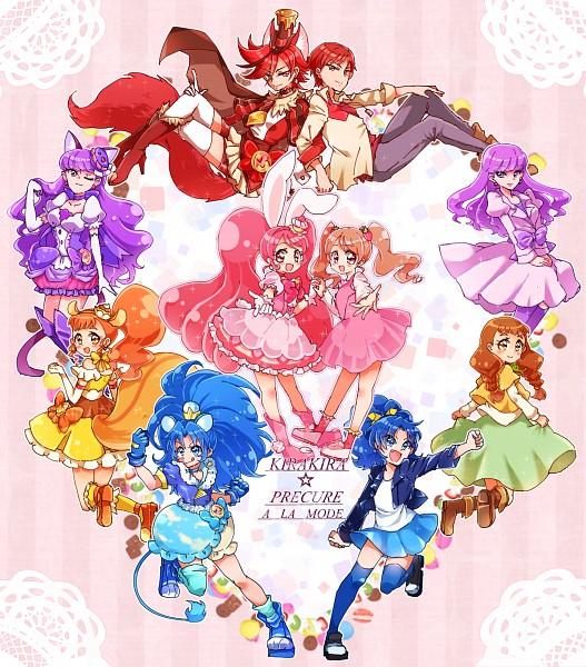 Tags: Anime, Pixiv Id 356388, Kirakira☆Precure a la Mode, Cure Custard, Kenjou Akira, Cure Whip, Tategami Aoi, Cure Chocolat, Arisugawa Himari, Cure Macaron, Usami Ichika, Cure Gelato, Kotozume Yukari
