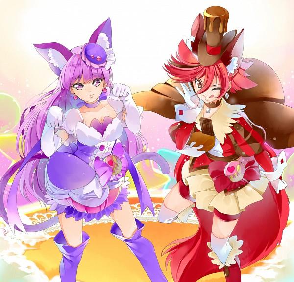 Tags: Anime, Yuutarou (Pixiv822664), Kirakira☆Precure a la Mode, Cure Chocolat, Cure Macaron, Kenjou Akira, Kotozume Yukari, Red Shorts, Fanart From Pixiv, Pixiv, Fanart