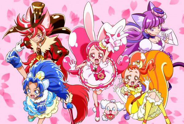 Tags: Anime, Pixiv Id 4588959, Kirakira☆Precure a la Mode, Cure Whip, Arisugawa Himari, Cure Chocolat, Usami Ichika, Cure Macaron, Kotozume Yukari, Cure Gelato, Kenjou Akira, Pekorin, Cure Custard