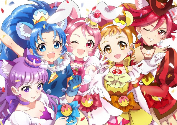 Tags: Anime, Xing, Kirakira☆Precure a la Mode, Tategami Aoi, Cure Chocolat, Arisugawa Himari, Cure Macaron, Usami Ichika, Cure Gelato, Kotozume Yukari, Cure Custard, Kenjou Akira, Cure Whip