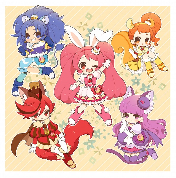Tags: Anime, Mohukichi224, Kirakira☆Precure a la Mode, Cure Custard, Kenjou Akira, Cure Whip, Tategami Aoi, Cure Chocolat, Arisugawa Himari, Cure Macaron, Usami Ichika, Cure Gelato, Kotozume Yukari