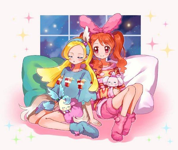 Tags: Anime, Pixiv Id 16185607, Kirakira☆Precure a la Mode, Kirarin (Precure), Pikario, Kirahoshi Ciel, Usami Ichika, Pekorin, Pink Shorts, Twitter, Fanart