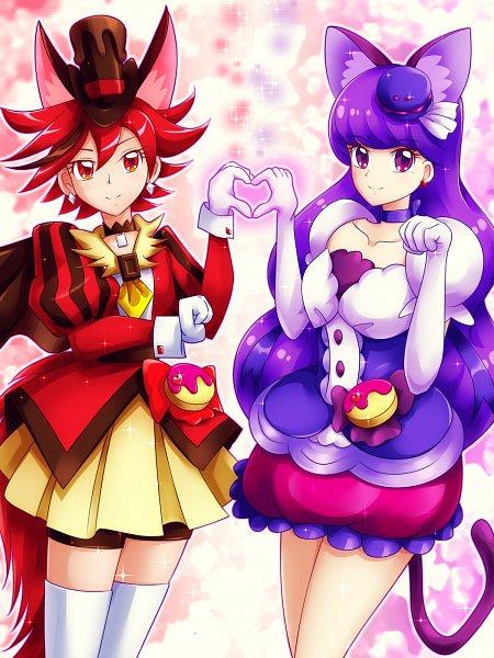 Tags: Anime, Pixiv Id 218489, Kirakira☆Precure a la Mode, Cure Macaron, Kenjou Akira, Kotozume Yukari, Cure Chocolat, Red Shorts, Fanart From Pixiv, Pixiv, Wallpaper, Twitter, Fanart