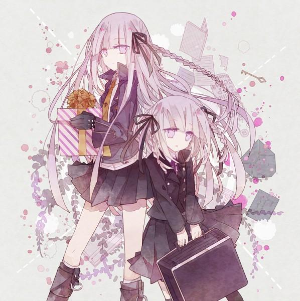 Tags: Anime, Phoenix0, Danganronpa Kirigiri, Danganronpa, Kirigiri Kyouko, Suitcase, Gift Bow, Purple Jacket, Orange Neckwear, Revision, Fanart From Pixiv, Fanart