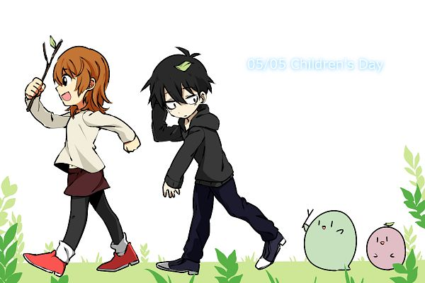 Tags: Anime, Pixiv Id 2787795, Kirisame ga Furu Mori, Kanzaki Shiori, Suga Kotaro, Brown Shorts, Fanart From Pixiv, Pixiv, Fanart, Forest Of Drizzling Rain